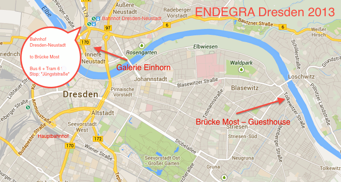 City map Arrival ENDEGRA Dresden 2013